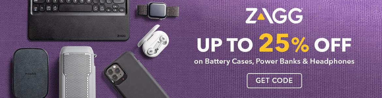 Zagg upto 25% off on Battery cases, Power Banks & Headphones